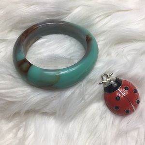 Lucite, faux turquoise pattern, bangle, GUC, 11""